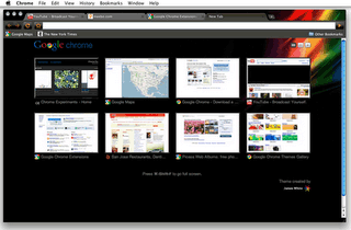 Screenshot: Google Chrome for Mac, with an artist theme