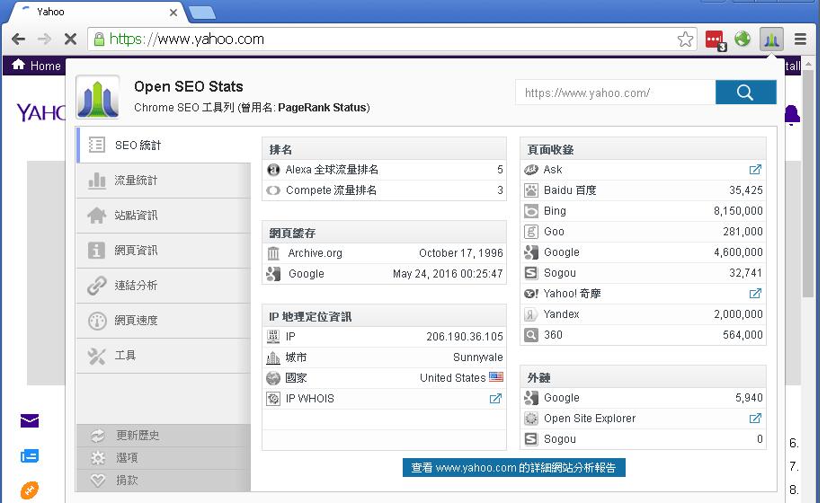 螢幕截圖: Open SEO Stats