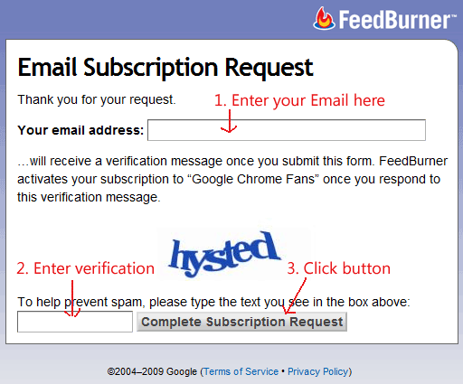 Feed Burner Email Subscription